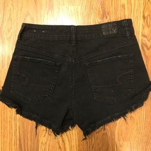 American Eagle Black Shorts Hi-Rise Festival--4